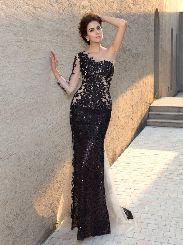 Sheath Long Sleeves One-Shoulder Brush Train Black Prom Dresses