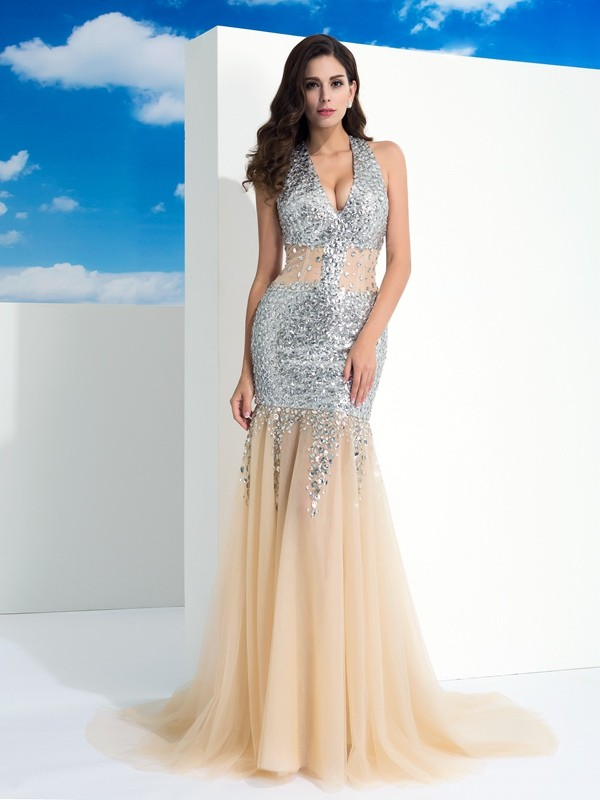 Sheath Halter Brush Train Champagne Prom Dresses with Paillette