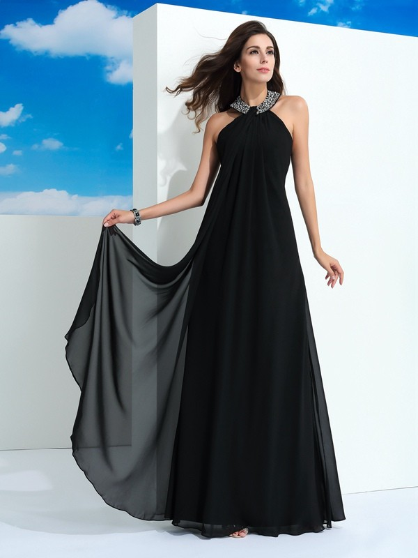 Halter Floor-Length Black Prom Dresses with Beading