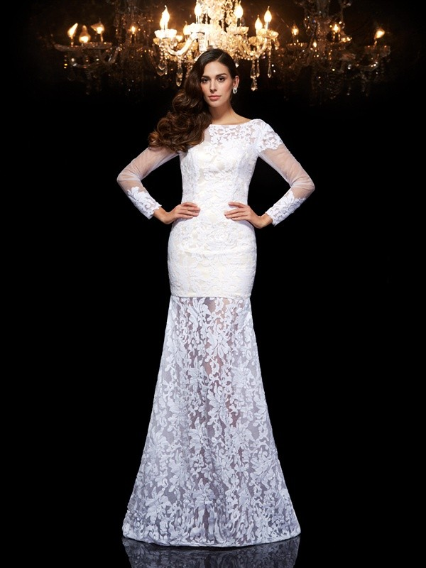 White Scoop Lace Floor-Length Prom Dresses