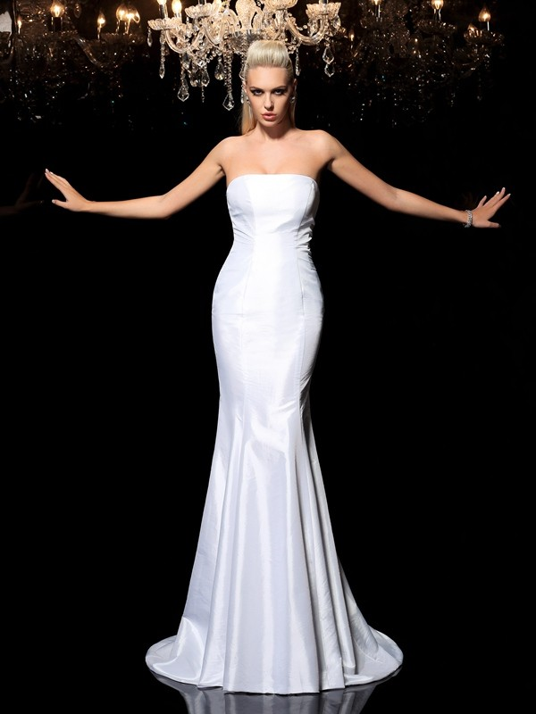 Sheath Satin Strapless Brush Train White Prom Dresses