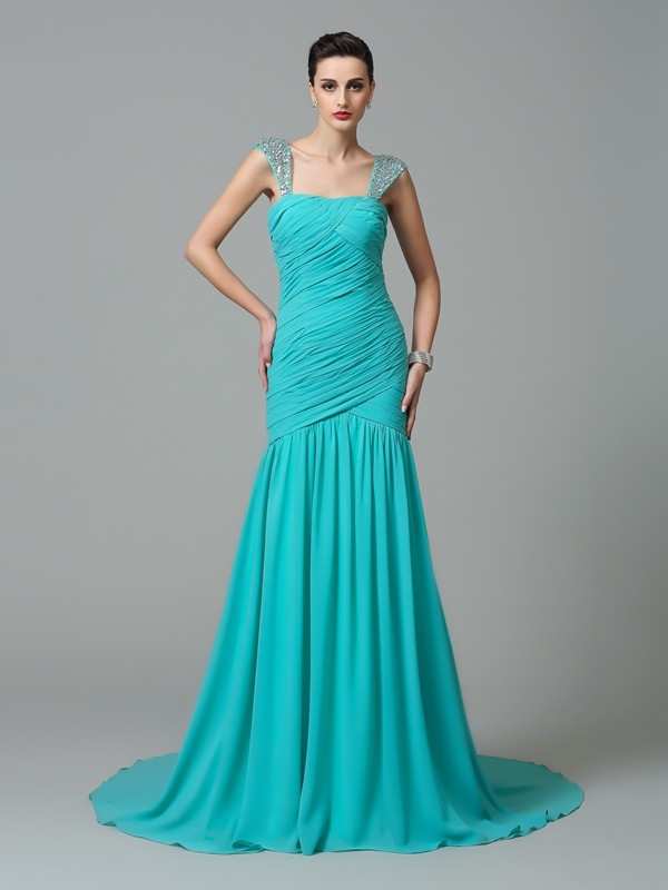 Green A-Line Straps Court Train Prom Dresses with Ruched