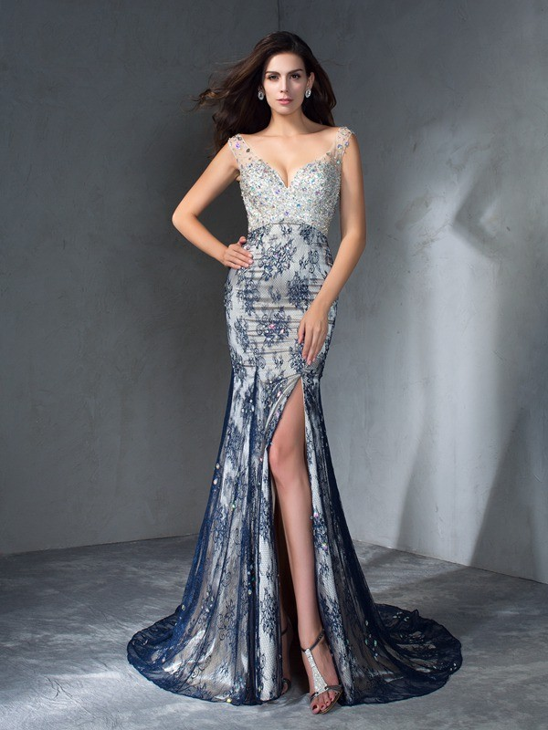 Other V-neck Lace Brush Train Prom Dresses