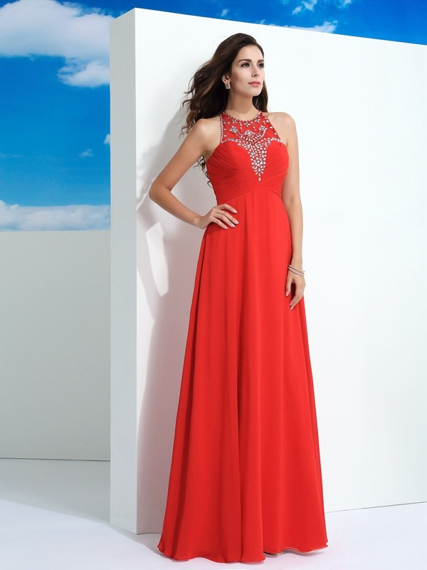 A-Line Sheer Neck Floor-Length Watermelon Prom Dresses