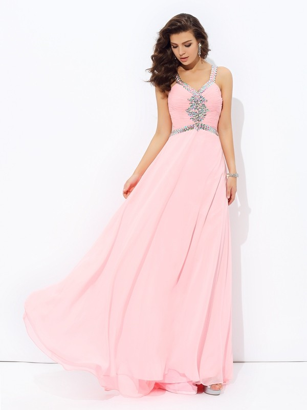 A-Line Chiffon Straps Floor-Length Prom Dresses with Beading