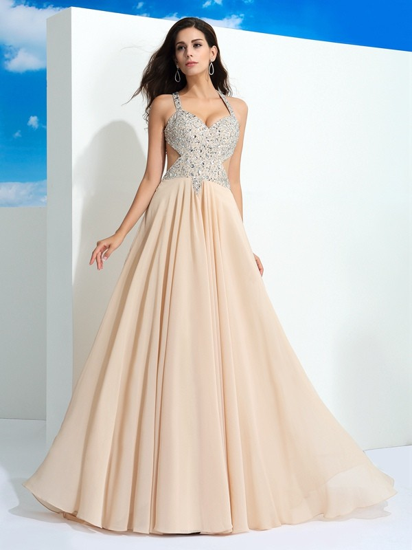 A-Line Straps Brush Train Champagne Prom Dresses