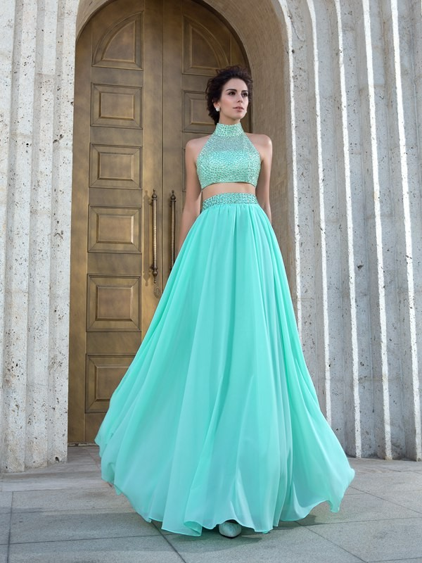 Green High Neck Chiffon Floor-Length Prom Dresses