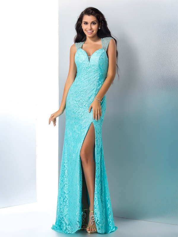 Lace Mermaid Floor-Length Sweetheart Blue Prom Dresses
