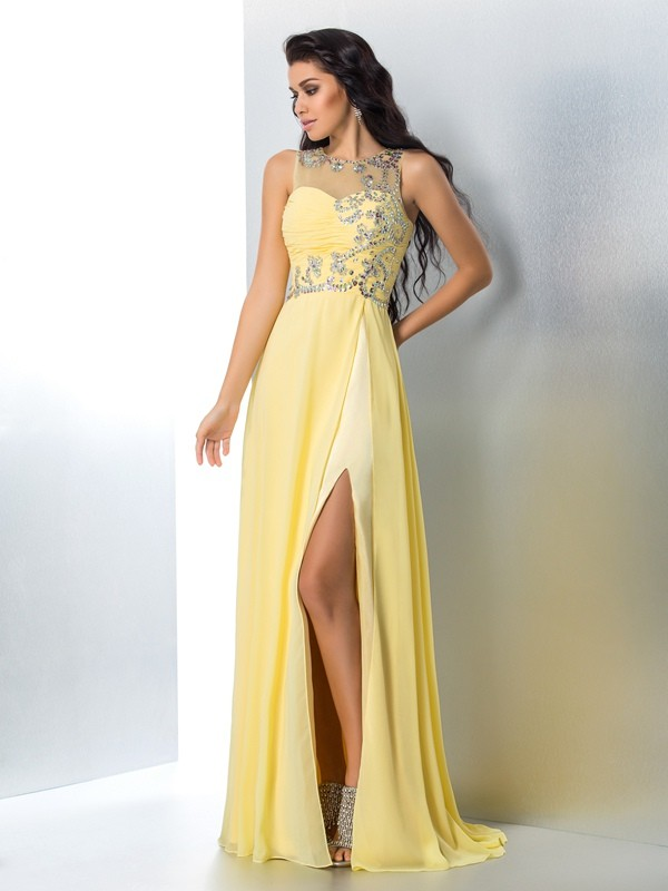 A-Line Chiffon Sheer Neck Brush Train Yellow Prom Dresses