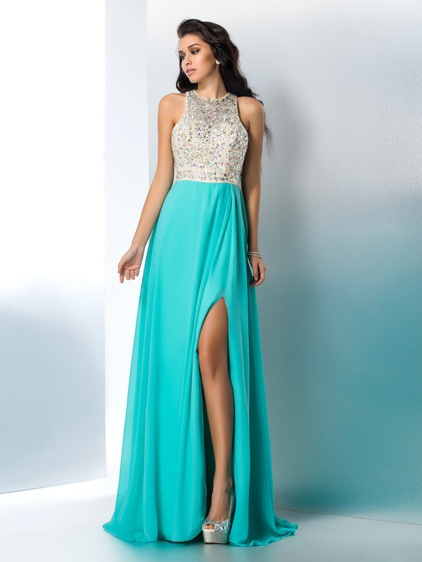 A-Line Chiffon Scoop Floor-Length Prom Dresses with Beading