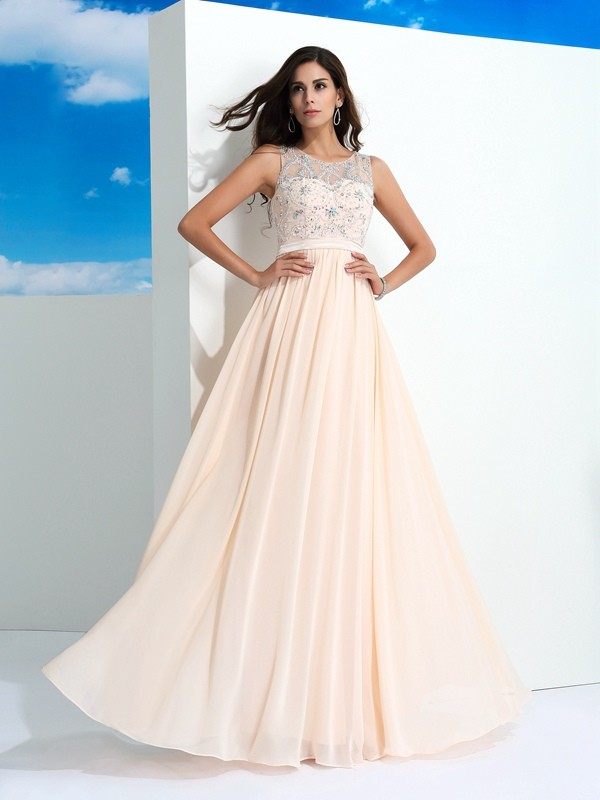 Floor-Length Pearl Pink Sheer Neck Prom Dresses with Beading