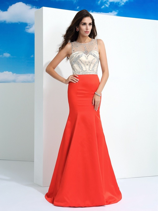 Watermelon Sheer Neck Satin Floor-Length Prom Dresses