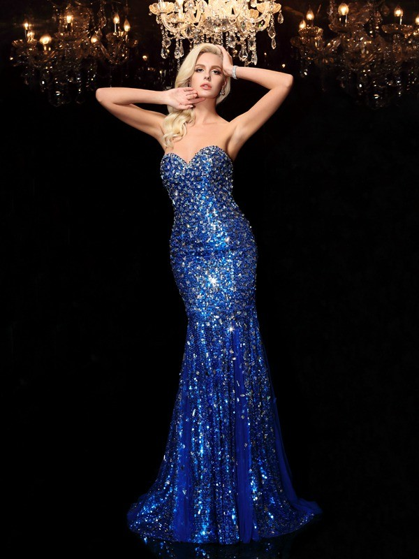 Mermaid Sweetheart Court Train Royal Blue Prom Dresses
