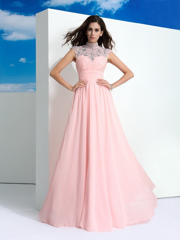 A-Line Sheer Neck Floor-Length Pink Prom Dresses
