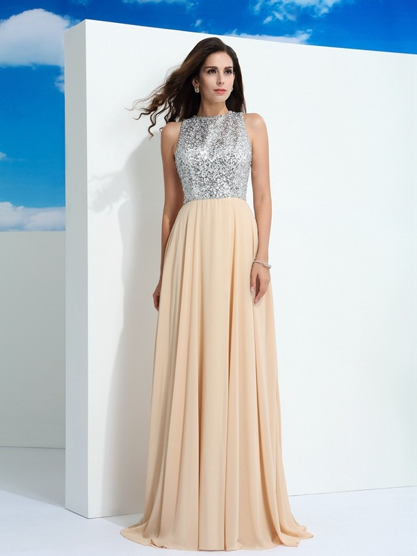 A-Line Scoop Brush Train Champagne Prom Dresses