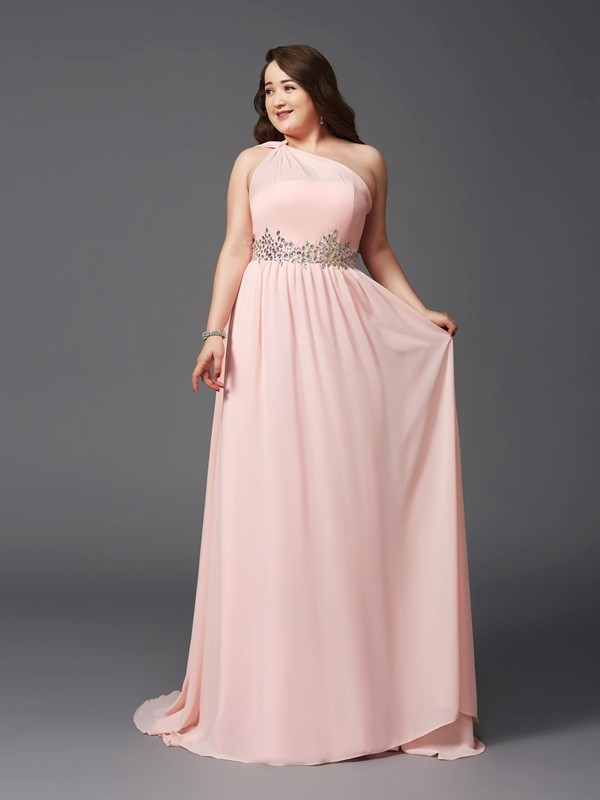 Brush Train Pink One-Shoulder Prom Dresses with Rhinestone