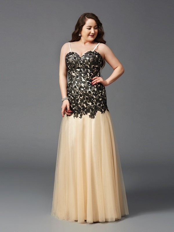 Net Sheath Floor-Length Spaghetti Straps Black Prom Dresses