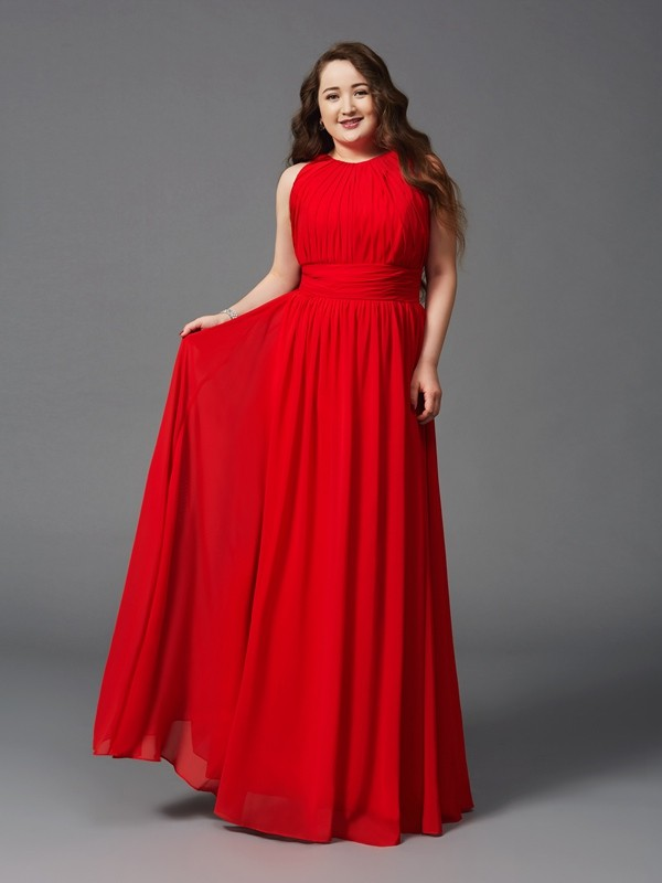 A-Line Jewel Floor-Length Red Prom Dresses with Ruched