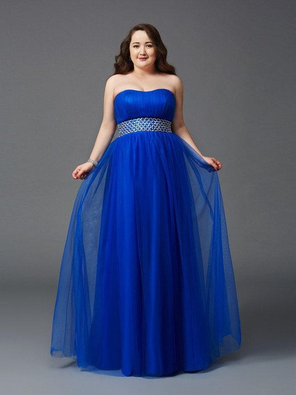 A-Line Strapless Floor-Length Royal Blue Prom Dresses