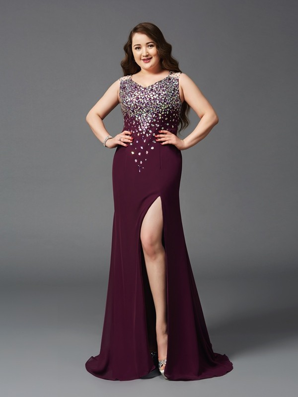 Sheath Straps Brush Train Burgundy Prom Dresses with Rhinestone