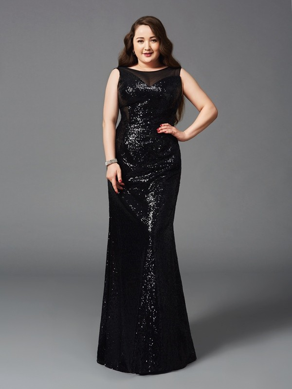 Sequins Scoop Floor-Length Black Prom Dresses