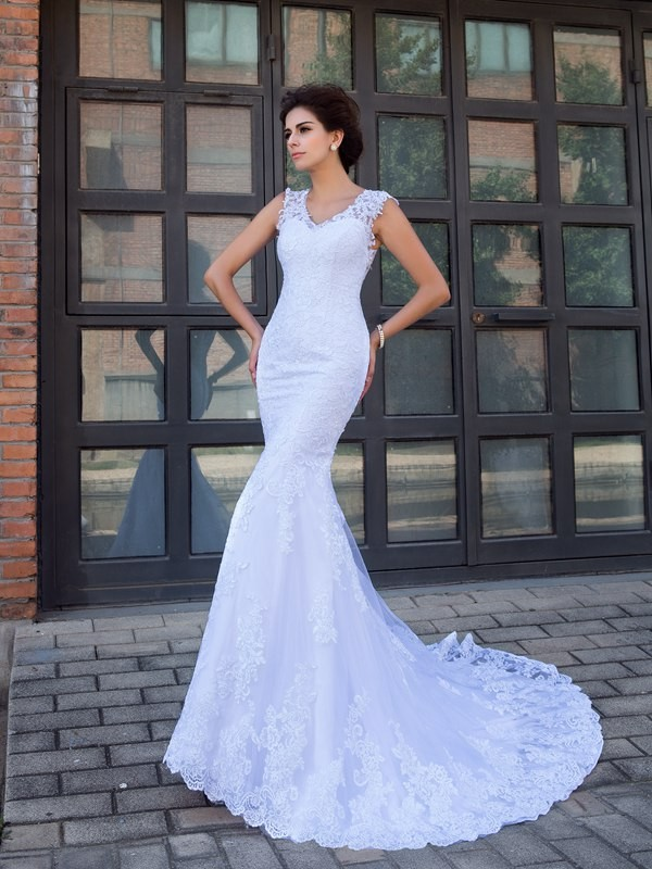Satin V-neck Chapel Train White Wedding Dresses