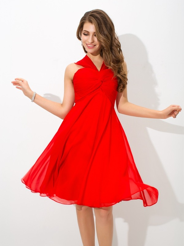 Red A-Line Straps Knee-Length Homecoming Dresses with Pleats