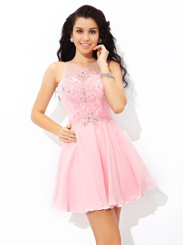 A-Line Sheer Neck Short/Mini Pink Homecoming Dresses with Applique