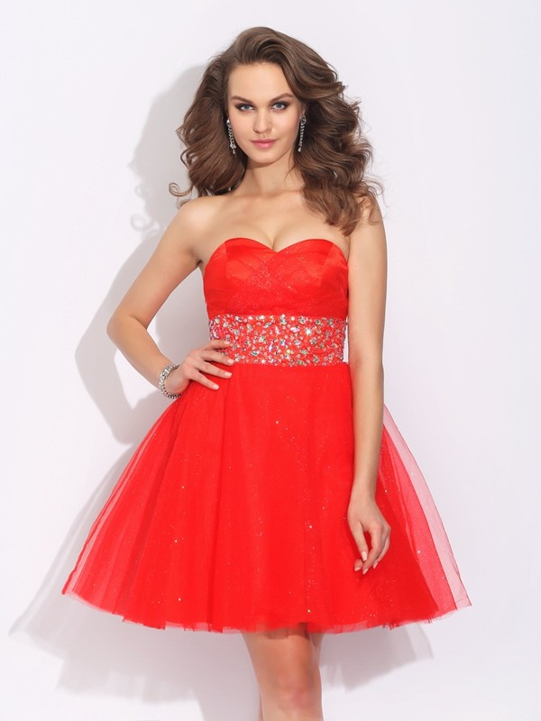 A-Line Sweetheart Short/Mini Red Homecoming Dresses with Rhinestone