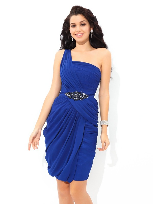 Sheath Chiffon One-Shoulder Short/Mini Homecoming Dresses with Pleats