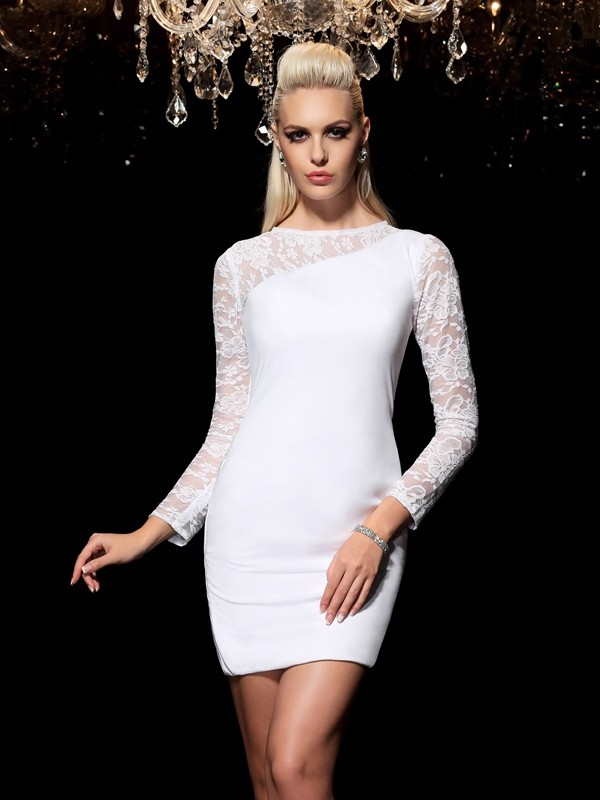 Sheath Scoop Short/Mini White Homecoming Dresses with Lace