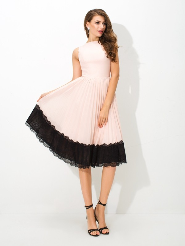 A-Line High Neck Tea-Length Pink Homecoming Dresses with Lace