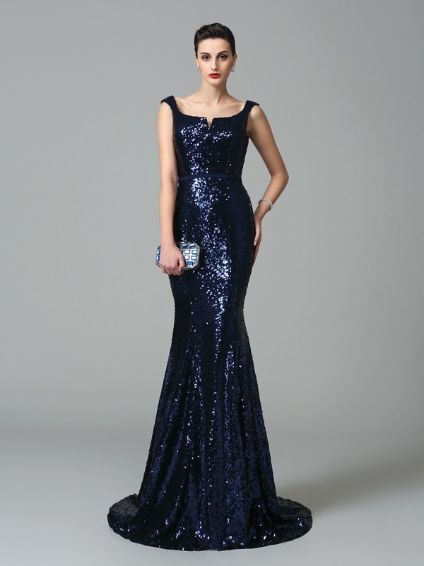 Straps Brush Train Dark Navy Prom Dresses