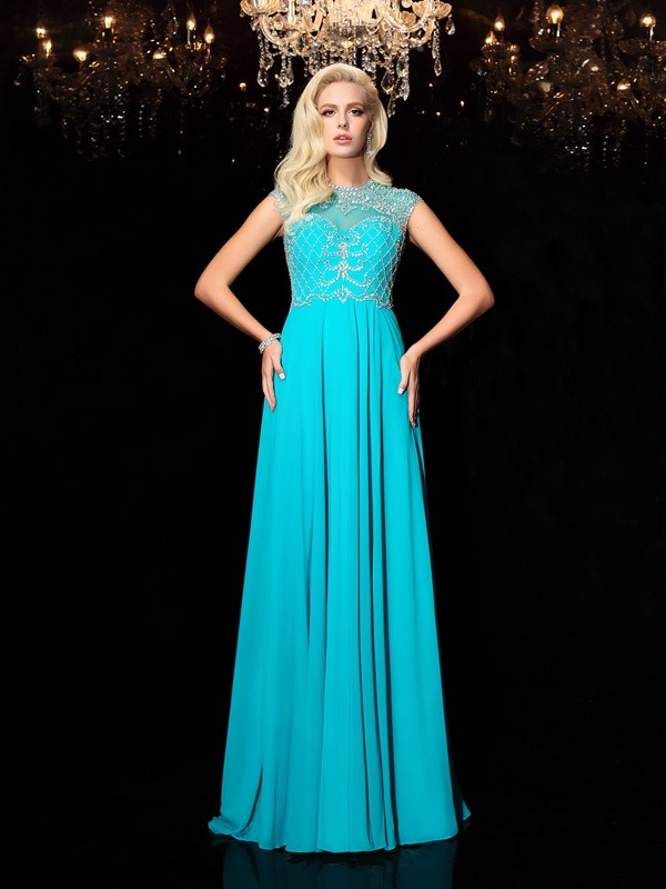Other Jewel Chiffon Floor-Length Prom Dresses