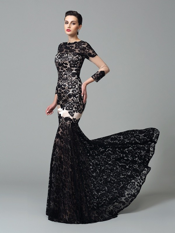 3/4 Sleeves High Neck Brush Train Black Prom Dresses with Lace