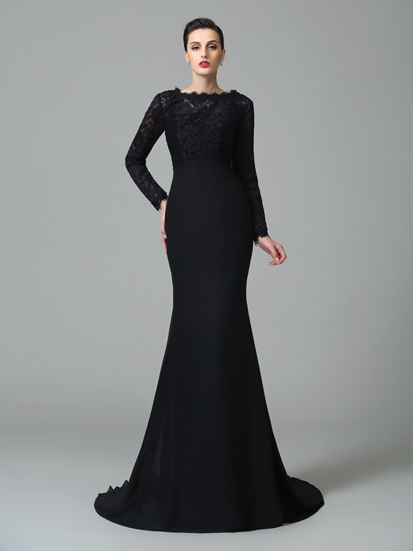 Mermaid Chiffon Square Court Train Prom Dresses with Lace
