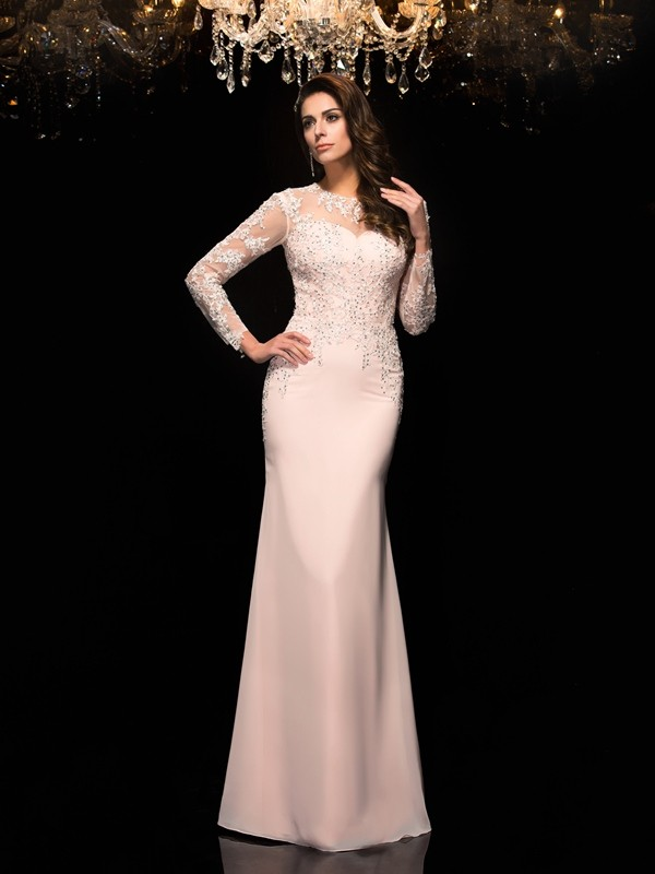 3/4 Sleeves Sheath Sheer Neck Floor-Length Pink Prom Dresses