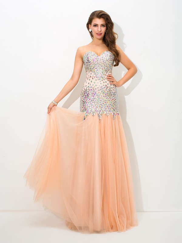 Champagne Mermaid Sweetheart Floor-Length Prom Dresses with Beading