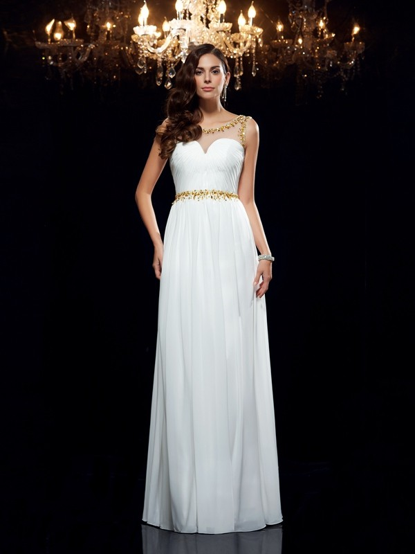 Chiffon Sheer Neck Floor-Length White Prom Dresses