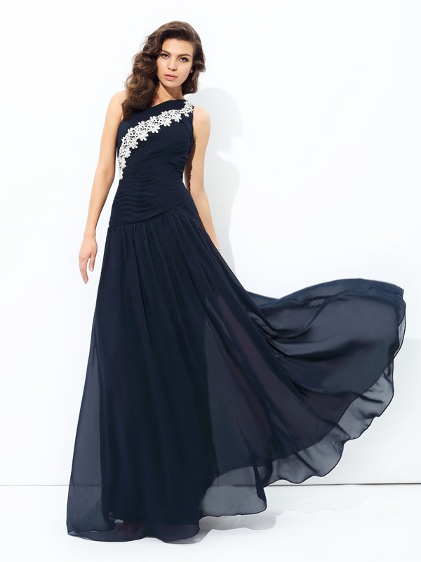 A-Line Chiffon One-Shoulder Floor-Length Prom Dresses with Applique