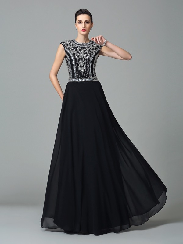 A-Line Chiffon Short Sleeves Jewel Floor-Length Black Prom Dresses
