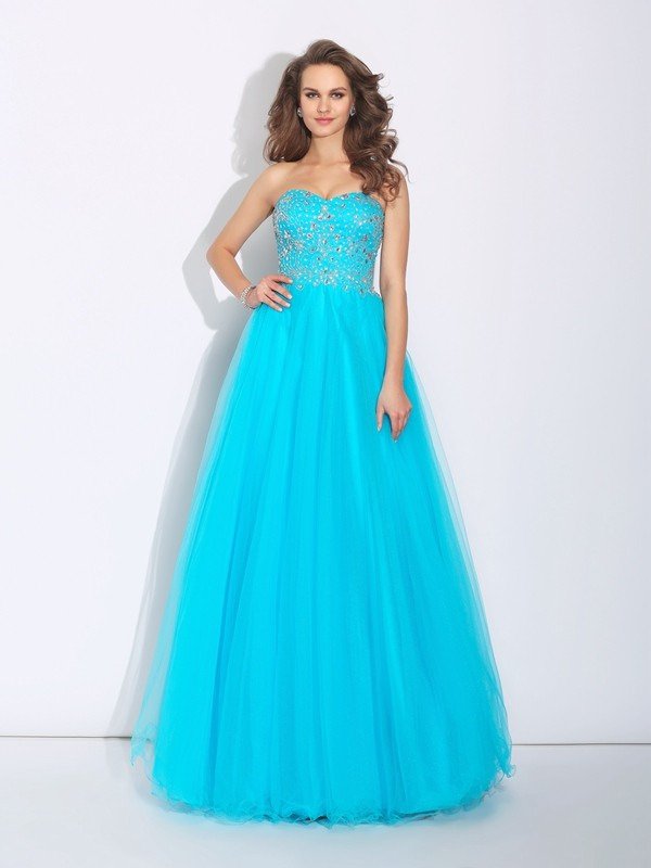 Satin A-Line Floor-Length Sweetheart Blue Prom Dresses