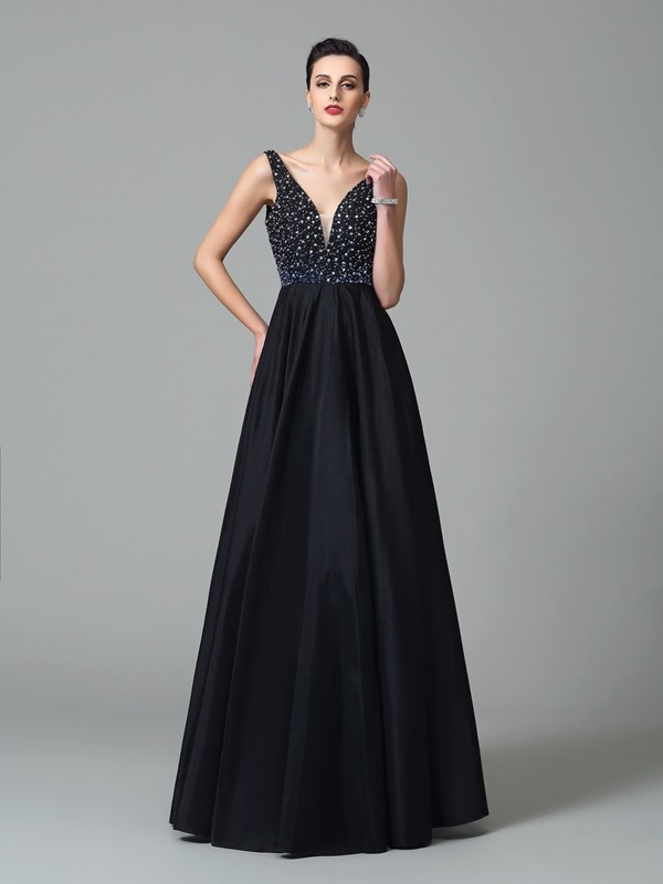 A-Line Straps Floor-Length Black Prom Dresses with Beading