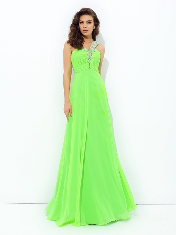 Chiffon One-Shoulder Floor-Length Green Prom Dresses