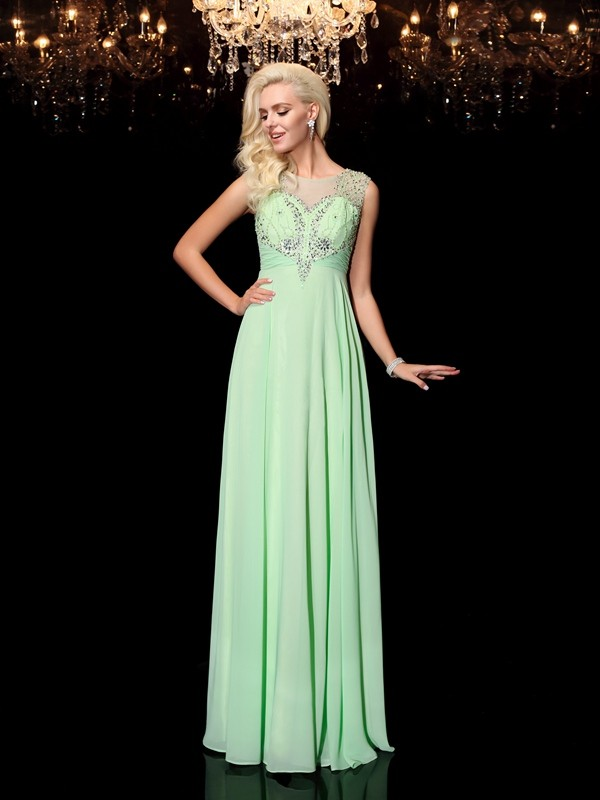 A-Line Scoop Floor-Length Green Prom Dresses