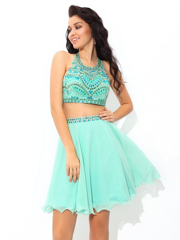 A-Line Chiffon Sheer Neck Short/Mini Blue Homecoming Dresses