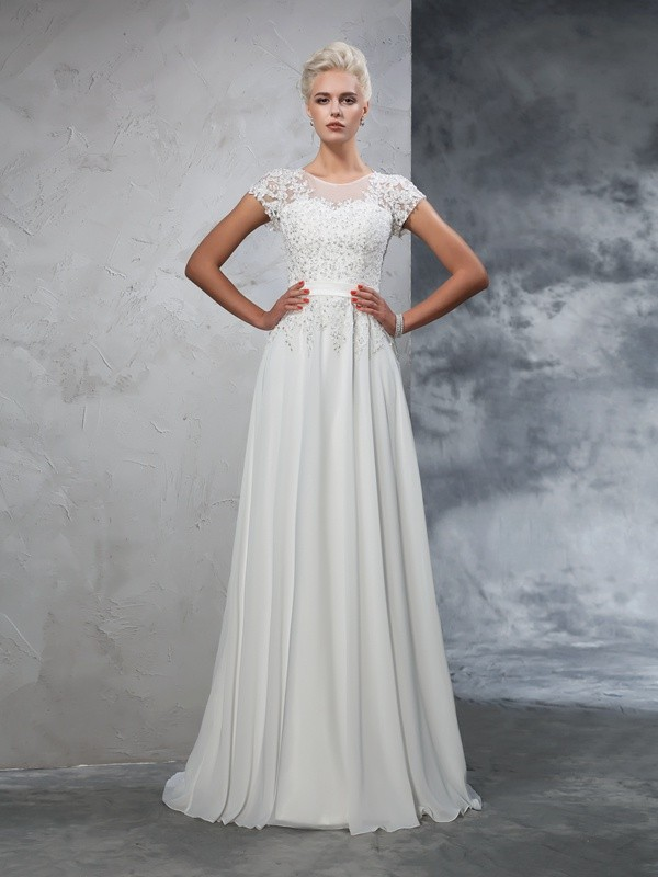 Ivory A-Line Sheer Neck Brush Train Wedding Dresses with Applique