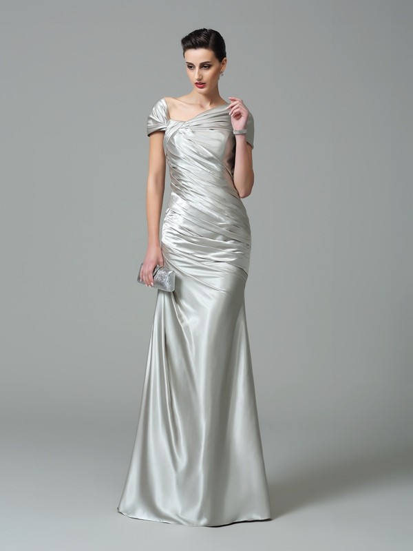 Silk like Satin Off-the-Shoulder Floor-Length Silver Prom Dresses