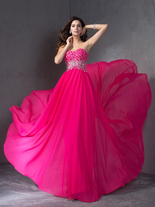 A-Line Sweetheart Brush Train Fuchsia Prom Dresses with Beading