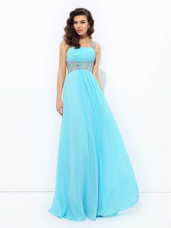 A-Line Chiffon Straps Floor-Length Prom Dresses with Sequin